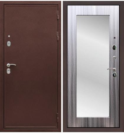 Входная дверь Цезарь 5А / с зеркалом Сандал серый (панель №37)