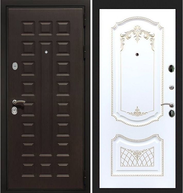 Входная дверь Гладиатор / Белая серебряная патина (панель №120)