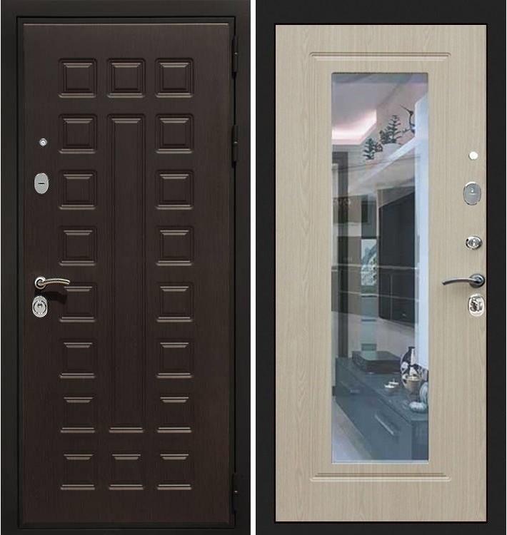 Входная дверь Гладиатор / с зеркалом Беленый дуб (панель №23)