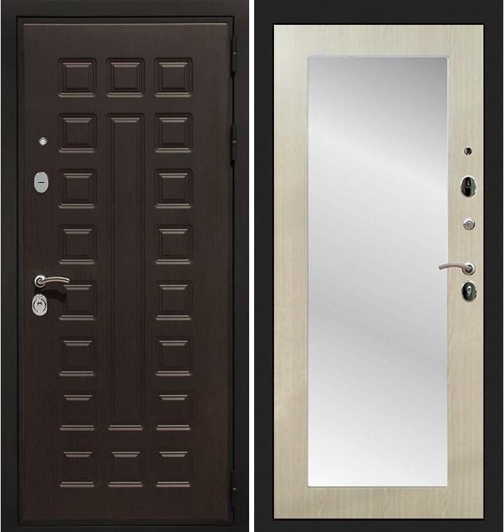 Входная дверь Гладиатор / с зеркалом Беленый дуб (панель №37)