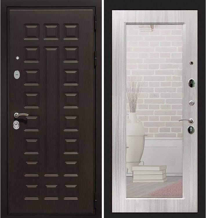 Входная дверь Гладиатор / с зеркалом Сандал белый (панель №37)