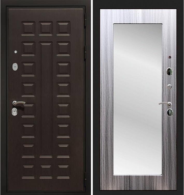 Входная дверь Гладиатор / с зеркалом Сандал серый (панель №37)