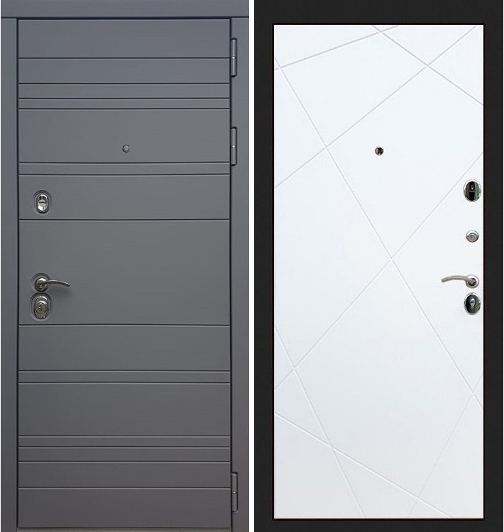 Входная дверь Сенатор 3К Графит софт / Белый софт (панель №117)