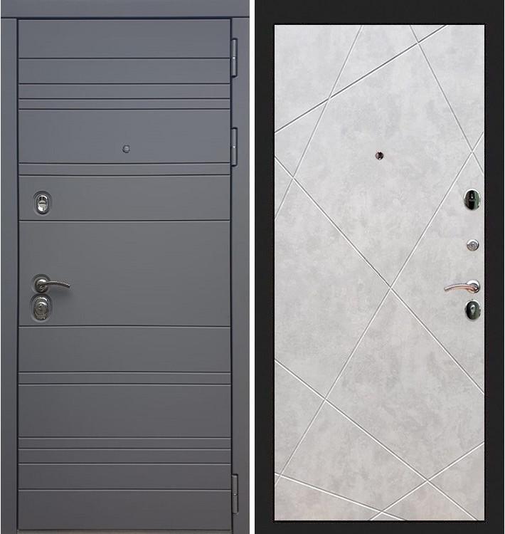 Входная дверь Сенатор 3К Графит софт / Бетон светлый (панель №117)