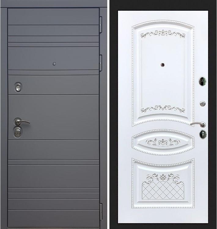 Входная дверь Сенатор 3К Графит софт / Белая золотая патина (панель №120)