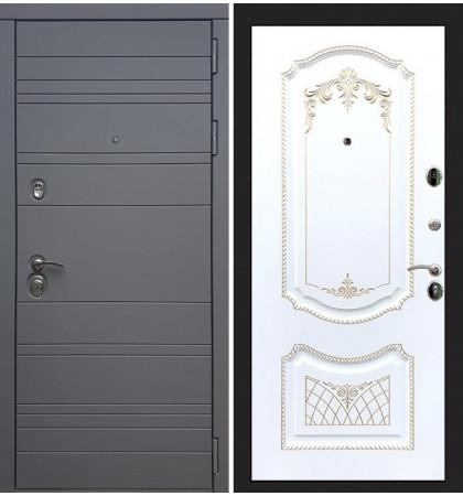 Входная дверь Сенатор 3К Графит софт / Белая серебряная патина (панель №120)