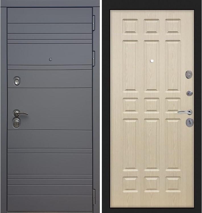 Входная дверь Сенатор 3К Графит софт / Беленый дуб (панель №28)