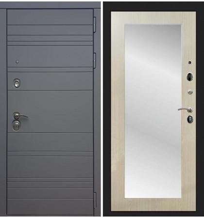 Входная дверь Сенатор 3К Графит софт / с зеркалом Беленый дуб (панель №37)