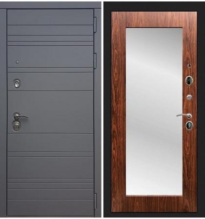 Входная дверь Сенатор 3К Графит софт / с зеркалом Береза мореная (панель №30)