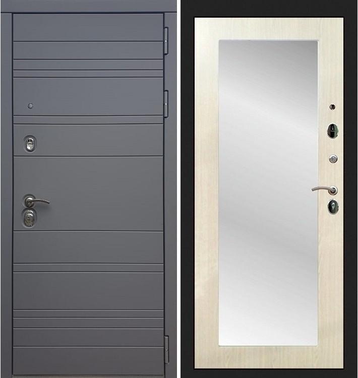Входная дверь Сенатор 3К Графит софт / с зеркалом Лиственница беж (панель №37)