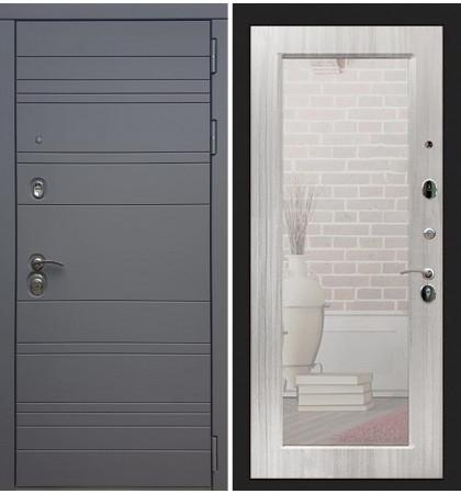 Входная дверь Сенатор 3К Графит софт / с зеркалом Сандал белый (панель №37)
