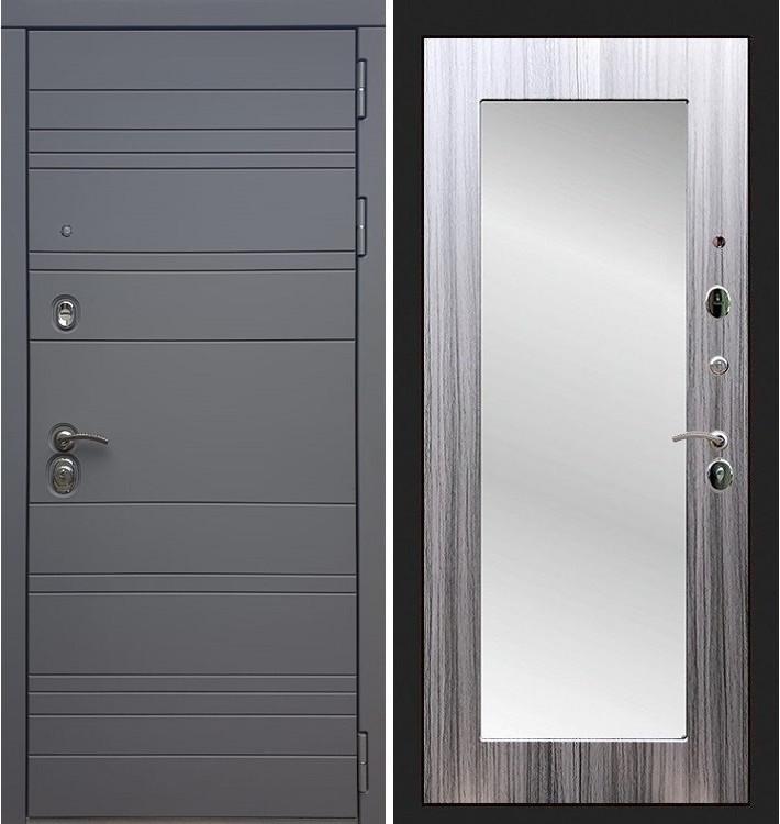 Входная дверь Сенатор 3К Графит софт / с зеркалом Сандал серый (панель №37)