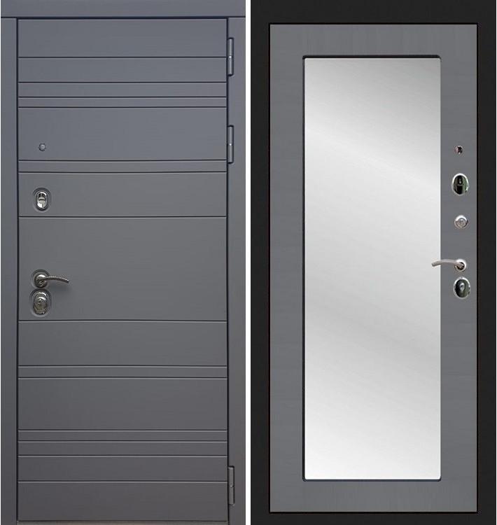 Входная дверь Сенатор 3К Графит софт / с зеркалом Графит софт (панель №37)