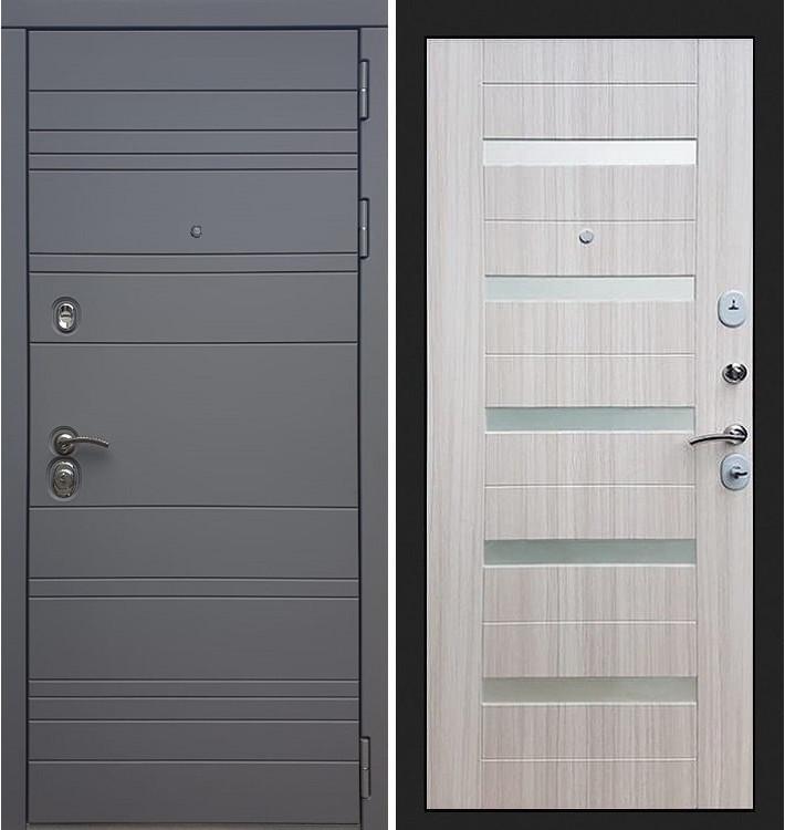 Входная дверь Сенатор 3К Графит софт / Сицилио Сандал белый (панель №46)