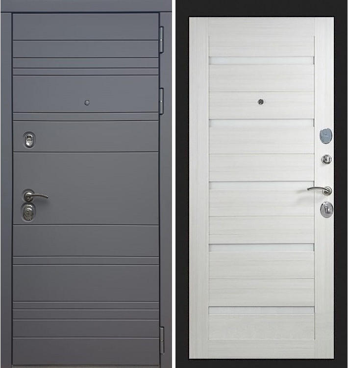Входная дверь Сенатор 3К Графит софт / Клеопатра Лиственница беж (панель №66)