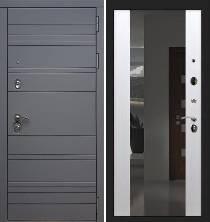 Входная дверь Сенатор 3К Графит софт / Стиль Белый ясень (панель №61)