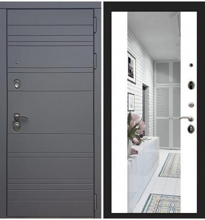 Входная дверь Сенатор 3К Графит софт / Стиль Белый софт (панель №61)