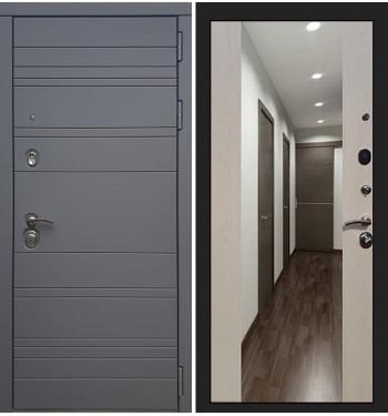 Входная дверь Сенатор 3К Графит софт с зеркалом / Стиль Лиственница беж (панель №45)