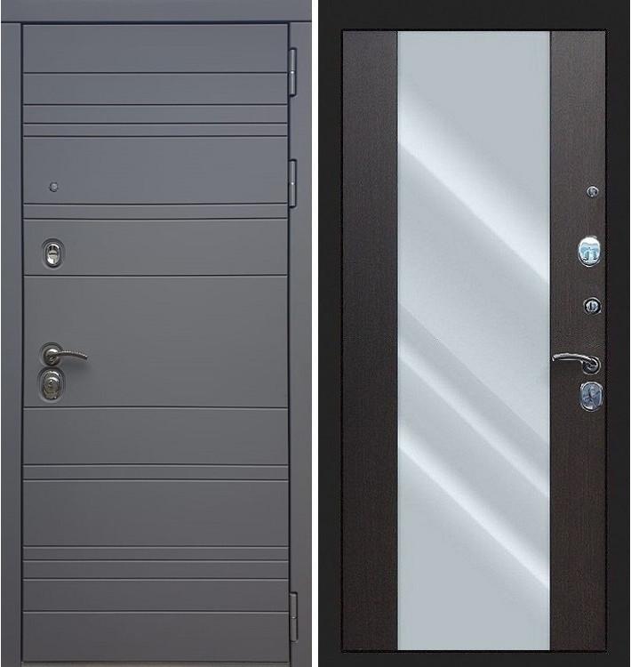 Входная дверь Сенатор 3К Графит софт с зеркалом / Стиль Венге (панель №61)