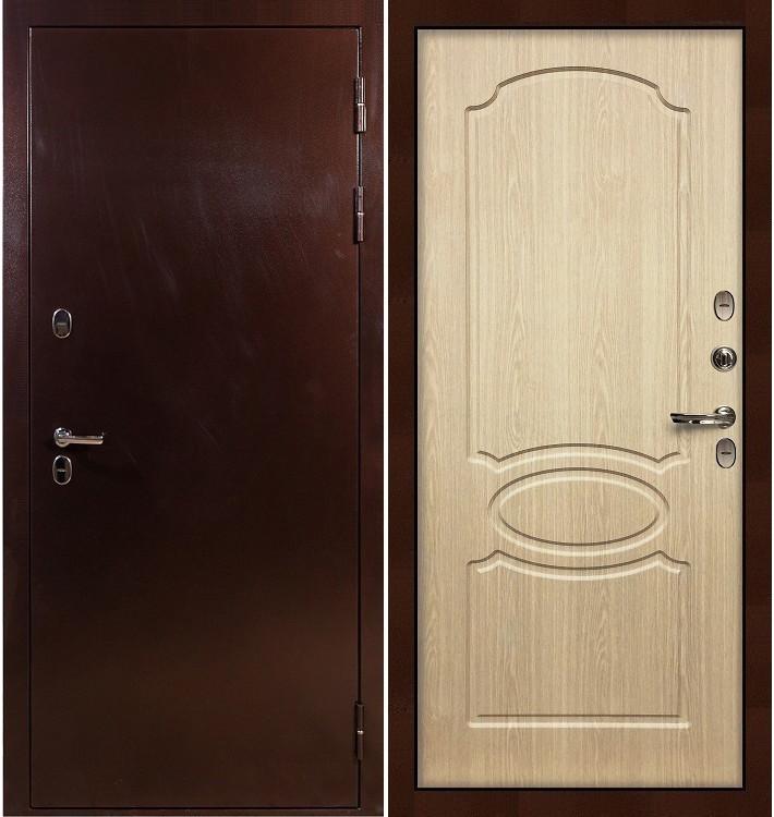 Входная дверь с терморазрывом Сибирь 3К / Беленый дуб (панель №14)