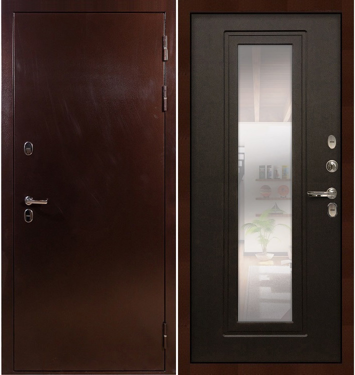 Входная дверь с терморазрывом Сибирь 3К / с зеркалом Венге (панель №22)