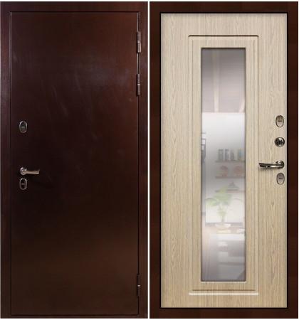 Входная дверь с терморазрывом Сибирь 3К / с зеркалом Беленый дуб (панель №23)
