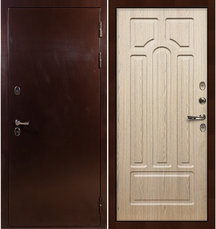 Входная дверь с терморазрывом Сибирь 3К / Беленый дуб (панель №25)