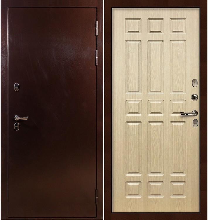 Входная дверь с терморазрывом Сибирь 3К / Беленый дуб (панель №28)