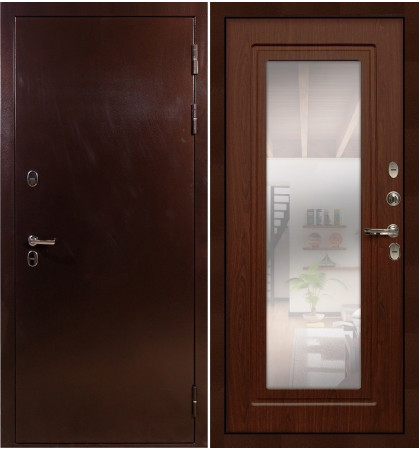 Входная дверь с терморазрывом Сибирь 3К / с зеркалом Береза мореная (панель №30)