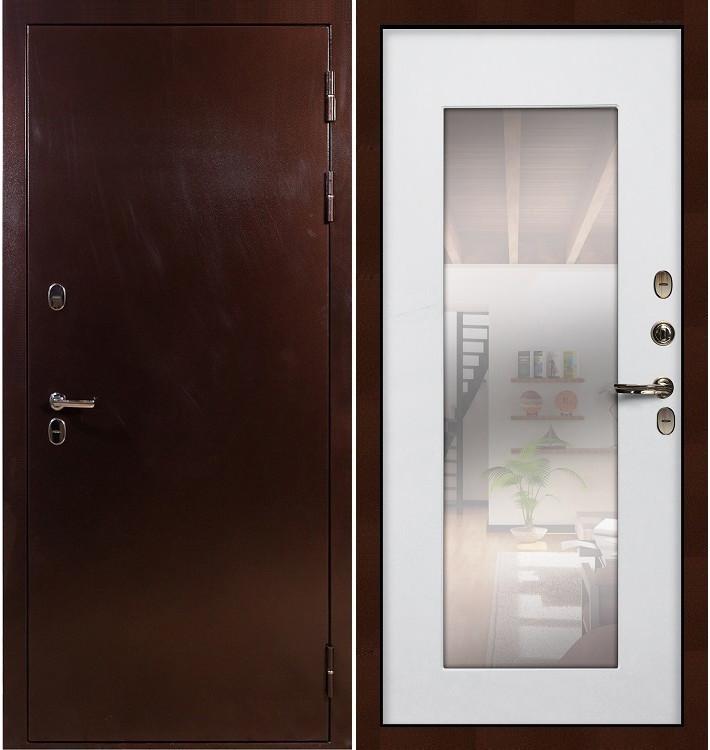 Входная дверь с терморазрывом Сибирь 3К / с зеркалом Белый ясень (панель №37)