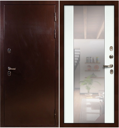 Входная дверь с терморазрывом Сибирь 3К / Стиль Белый экошпон (панель №61)