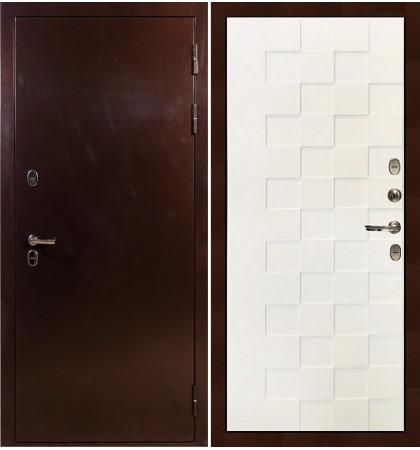 Входная дверь с терморазрывом Сибирь 3К / Квадро Белая шагрень (панель №71)