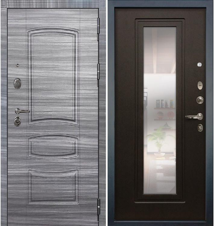Входная дверь Легион Сандал серый / с зеркалом Венге (панель №22)