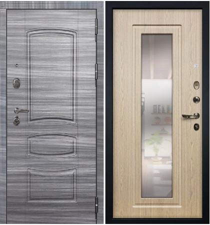 Входная дверь Легион Сандал серый / с зеркалом Беленый дуб (панель №23)
