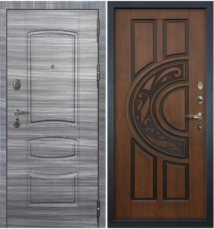 Входная дверь Легион Сандал серый / Голден патина (панель №27)