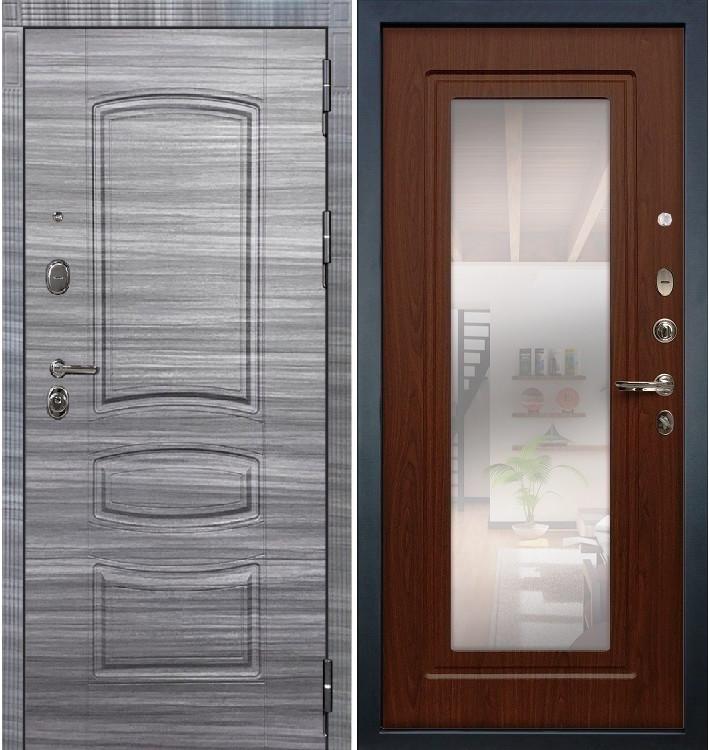 Входная дверь Легион Сандал серый / с зеркалом Береза мореная (панель №30)