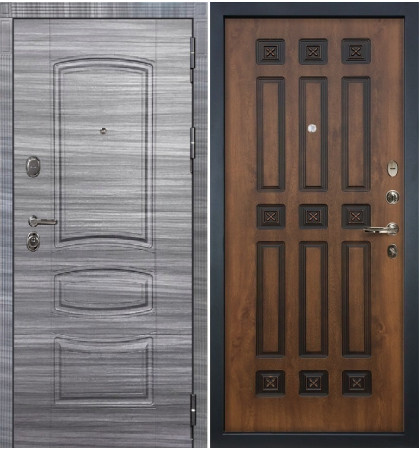 Входная дверь Легион Сандал серый / Голден патина (панель №33)