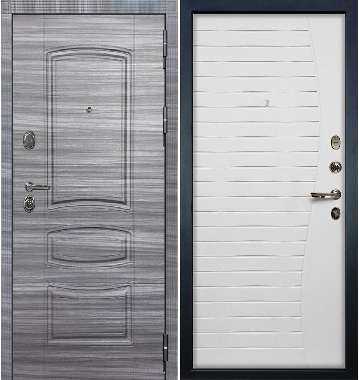 Входная дверь Легион Сандал серый / Волна Белый ясень (панель №36)
