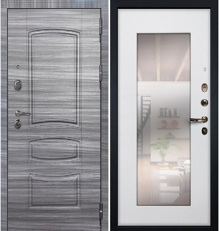 Входная дверь Легион Сандал серый / с зеркалом Белый ясень (панель №37)