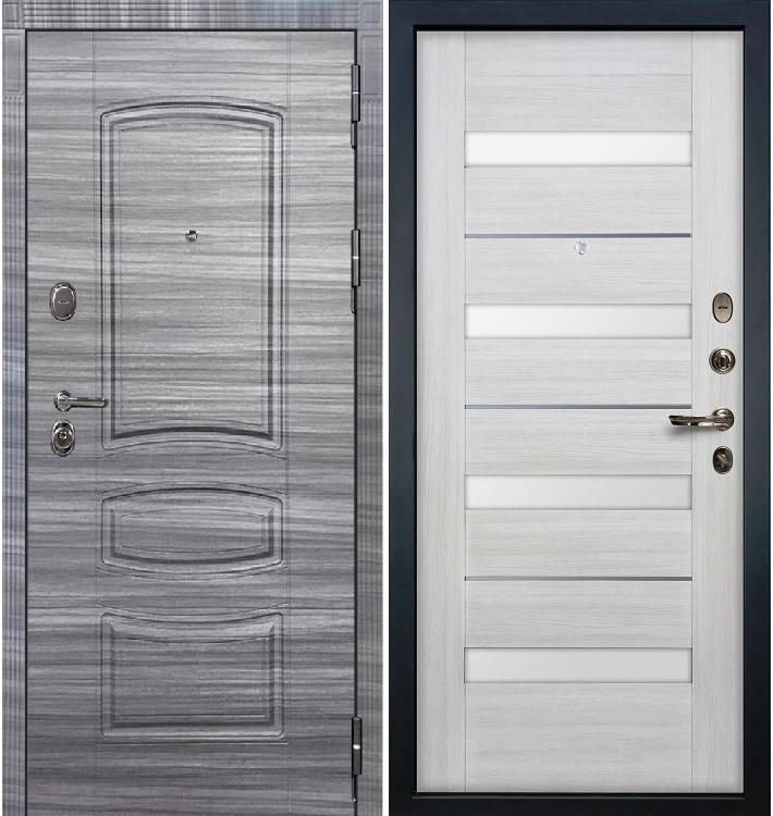 Входная дверь Легион Сандал серый / Сицилио Беленый дуб (панель №46)