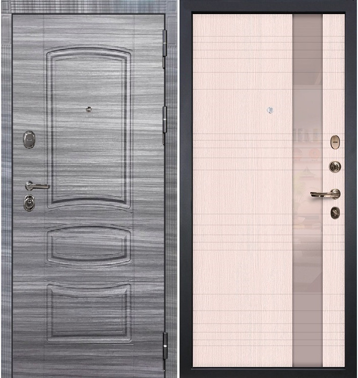 Входная дверь Легион Сандал серый / Новита Беленый дуб (панель №52)