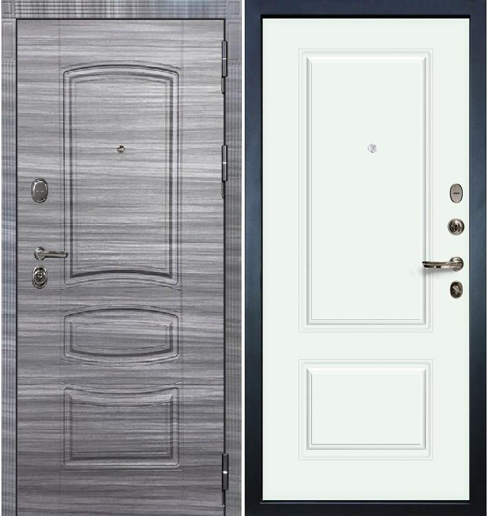 Входная дверь Легион Сандал серый / Вероника Белая эмаль (панель №55)