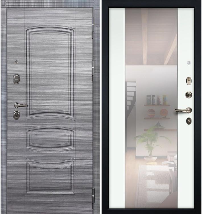 Входная дверь Легион Сандал серый / Стиль Белый экошпон (панель №61)
