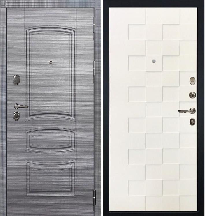 Входная дверь Легион Сандал серый / Квадро Белая шагрень (панель №71)