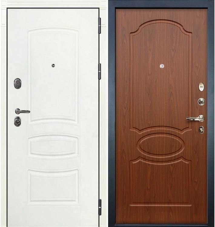 Входная дверь Легион Белая шагрень / Береза мореная (панель №12)