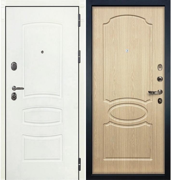 Входная дверь Легион Белая шагрень / Беленый дуб (панель №14)