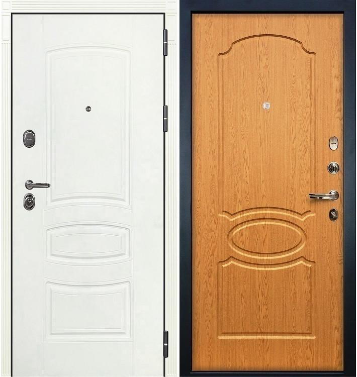 Входная дверь Легион Белая шагрень / Дуб натуральный (панель №15)