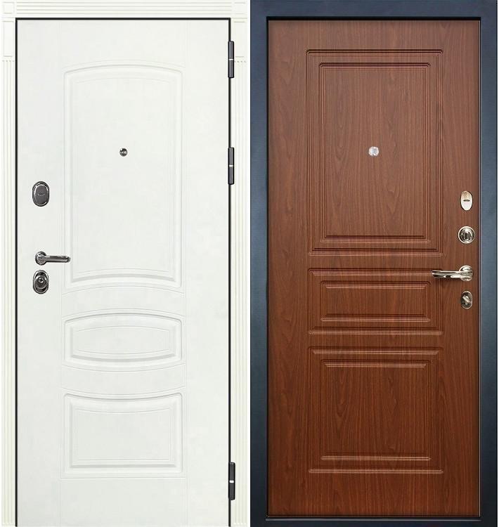 Входная дверь Легион Белая шагрень / Береза мореная (панель №19)