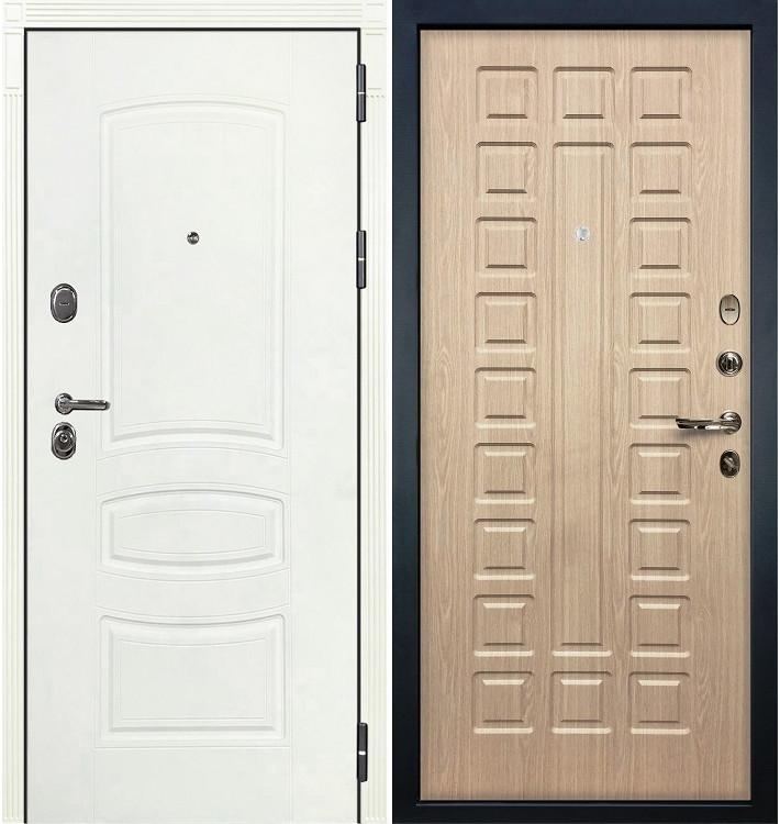 Входная дверь Легион Белая шагрень / Беленый дуб (панель №20)