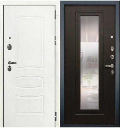 Входная дверь Легион Белая шагрень / с зеркалом Венге (панель №22)